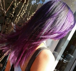 Hairstyle Colored highlights purple and black
